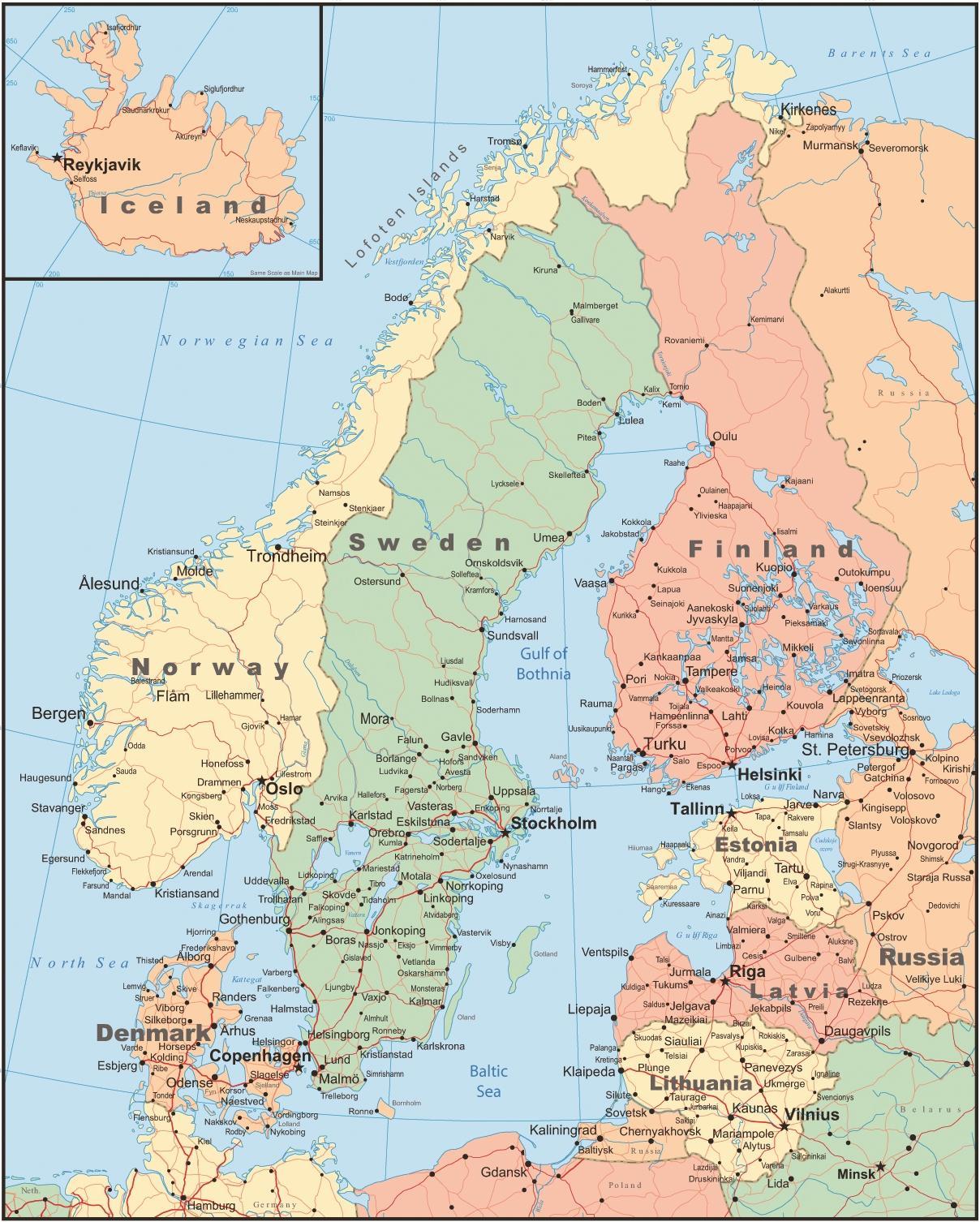 Karta Lander I Europa.Danmark Land Karta Karta Over Danmark Och Omgivande Lander Norra