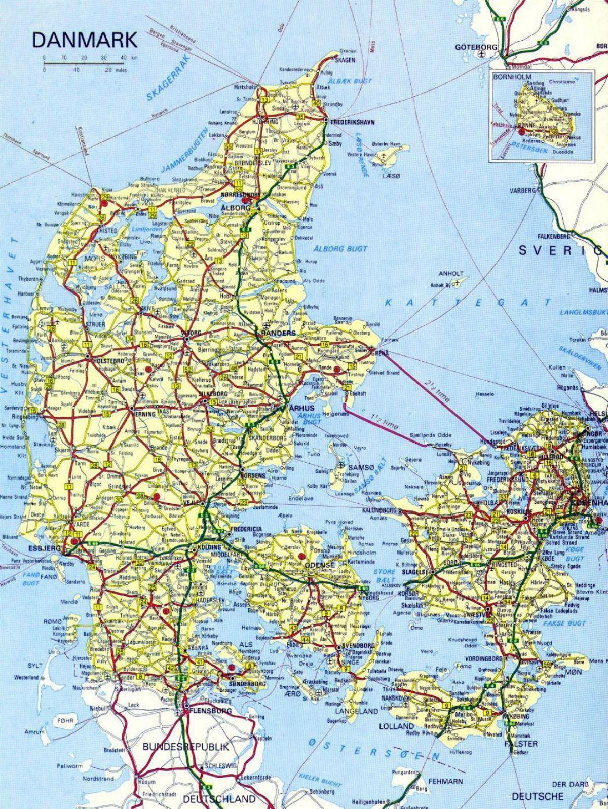 Danmark Stader Karta Danmark Karta Med Stader Norra Europa