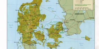 Danmark Karta Lage Karta Over Danmark Ocation Norra Europa